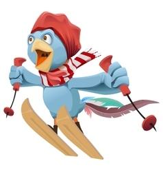 Blue Rooster symbol 2017 flies skiing vector image