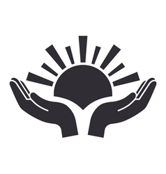 Sun in palms icon vector image
