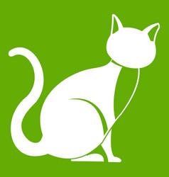 black cat icon green vector image vector image