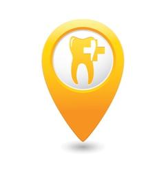 dental clinic icon pointer yellow vector image vector image