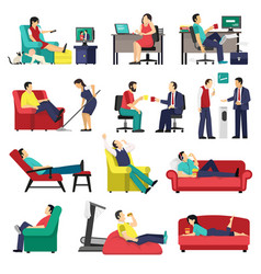 Lazy and tired people set vector