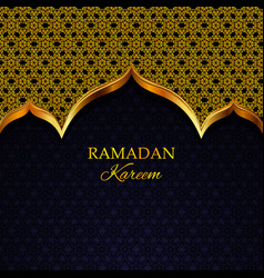 ramadan kareem greeting card gold pattern vector image