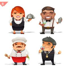 restaurant professions set vector image vector image