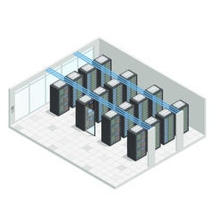 Server Room Isometric Interior vector image