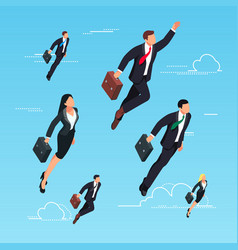3d businessmen flying in sky vector
