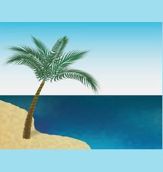 A tropical green palm tree on the sandy beach vector