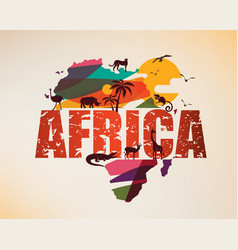 africa travel map decorative symbol africa vector image
