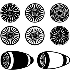 Airplane jet engine turbines vector