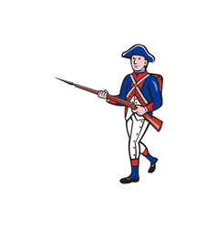 American Revolutionary Soldier Marching Cartoon vector