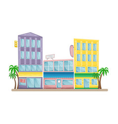 asian street with colorful buildings vector image