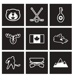 Assembly stylish black and white icons canada vector