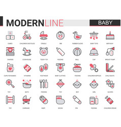 Baby care flat line web icon vector