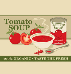 Banner for condensed tomato soup with text vector