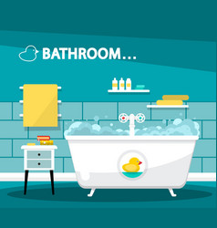 Bathroom with bathtube cartoon flat design with vector