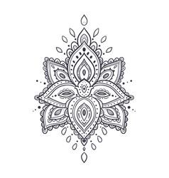Beautiful ornate pattern lotus flower vector