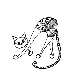 Black cat zentangle style for your design vector image