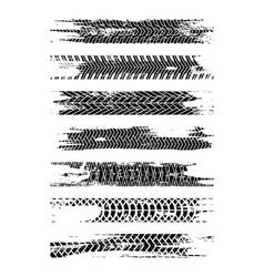 black tire track silhouette set grunge tire track vector image