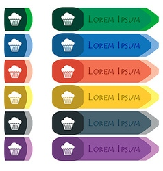 Cake icon sign Set of colorful bright long buttons vector