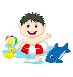 Cartoon Boy floating with inflatable ring vector image