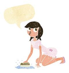 Cartoon cinderella scrubbing floors with speech vector