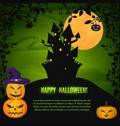 cartoon halloween night greeting template vector image