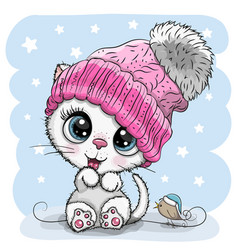 cartoon white kitten in a knit cap and a bird vector image