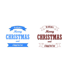 christmas blue text ribbon set merry vector image
