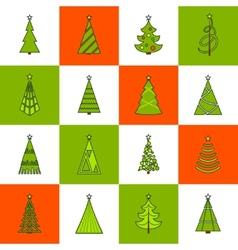 Christmas Tree Flat Line Icons vector image