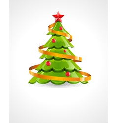 christmas tree with red star vector image