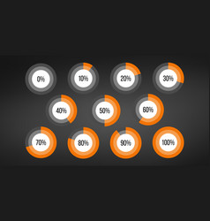 circle percent diagram pie charts infographic vector image