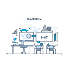 classroom interior of room education learning vector image