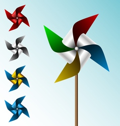 Colorful pinwheel set vector