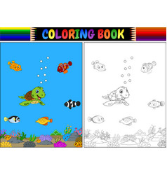 coloring book with sea animals vector image