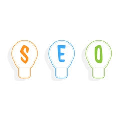 Concept of SEO word combined with light bulb vector image