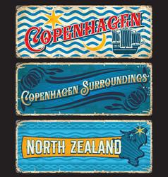 copenhagen and north zealand denmark vintage plate vector image