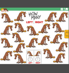 Counting left and right pictures cartoon horse vector