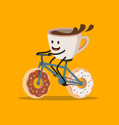 cup of coffee riding bicycle vector image