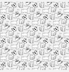 cute cat hand drawn pattern vector image