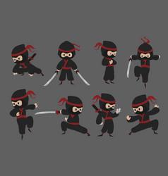 cute ninja cartoon japanese warrior with sword in vector image