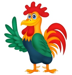 Cute rooster cartoon waving vector