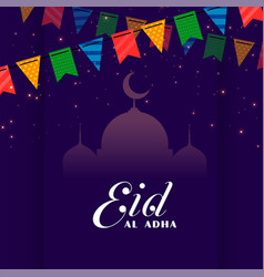 Decorative eid al adha festival greeting vector