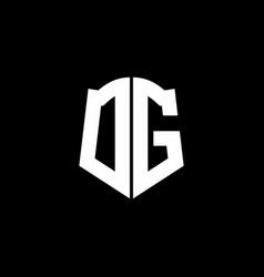 dg monogram letter logo ribbon with shield style vector image