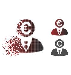 Disintegrating pixelated halftone euro banker icon vector