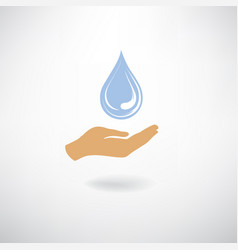 drop icon in hand silhouette white background vector image