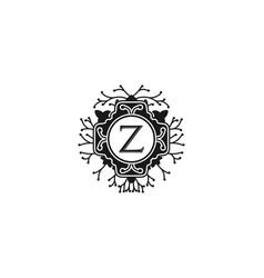 elegant floral monogram letter z for wedding and vector image