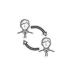 Employee turnover hand drawn sketch icon vector