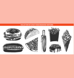 engraved style fast food menu collection vector image