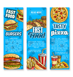 Fast food restaurant menu sketch banners vector