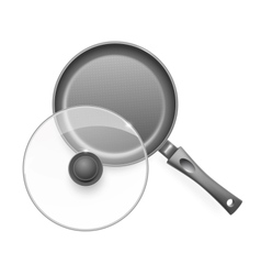 Frying pan with glass lid vector image