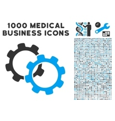 gears icon with 1000 medical business symbols vector image